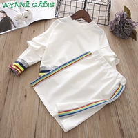 WYNNE GADIS Children Long Sleeve Ruffles Pullover Hoodies Rainbow Striped Pencil Skirt Girls Two Pieces Suits