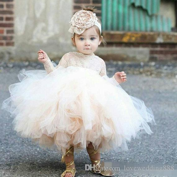 Baby Infant Toddler Pageant Clothes flower girl dress, long sleeve lace tutu dress, ivory and champagne flower girl dress weddin