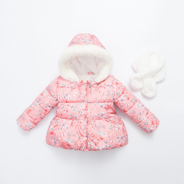 Girls Winter Coat Sale Cotton Jacket Floral  Winter Coat Princess Jackets Kids Teenage Warm Plus Velvet Outerwear+Send Scarves