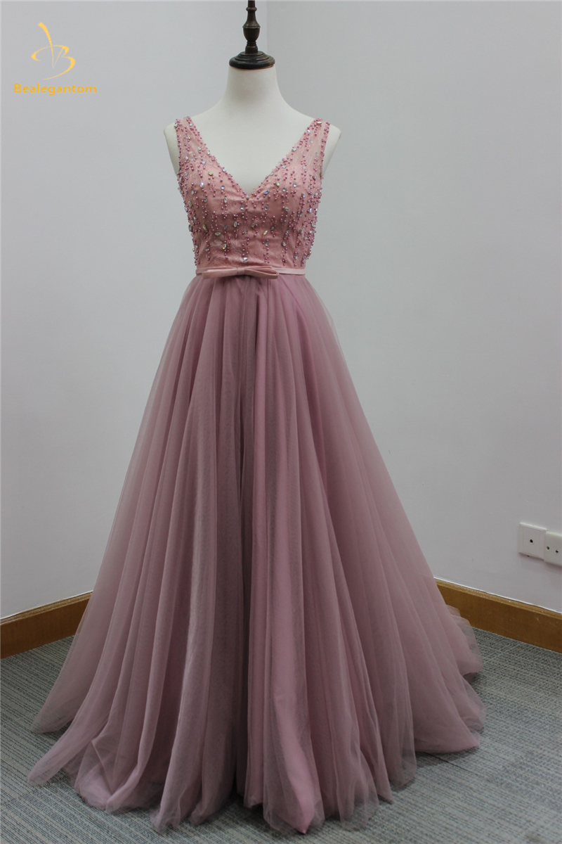 Bealegantom Stock V Neck Prom Dresses 2018 With Long Plus Size Tulle Bow Evening Party Gowns Vestido