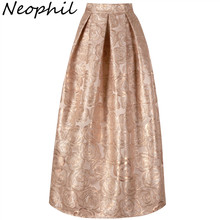 Neophil 2019 Ladies Elegant Floral Print Vintage Maxi Long Skirts High Waist Pleated