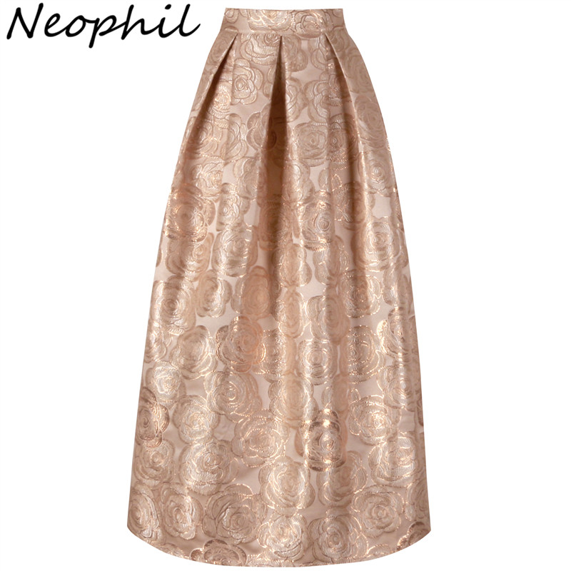 Neophil 2017 Ladies Elegant Floral Print Vintage Maxi Long Skirts High Waist Ball Gown Pleated Flare Gold Pink Longa Saia MS1020