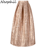 Neophil 2018 Ladies Elegant Floral Print Vintage Maxi Long Skirts High Waist Ball Gown Pleated Flare Gold Pink Longa Saia MS1020