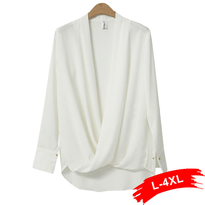Plus Size Sexy Surplice Neckline Cuff   Blouse   4XL 3XL Deep V Neck Cross Pleated White   Blouse     Shirts   Work Wear Chiffon Tops Blusa
