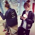 2015 Letters Printed Bomber Jacket Women Long sleeve Boyfriend coat vestes pour femmes campera autumn black jacket 1358