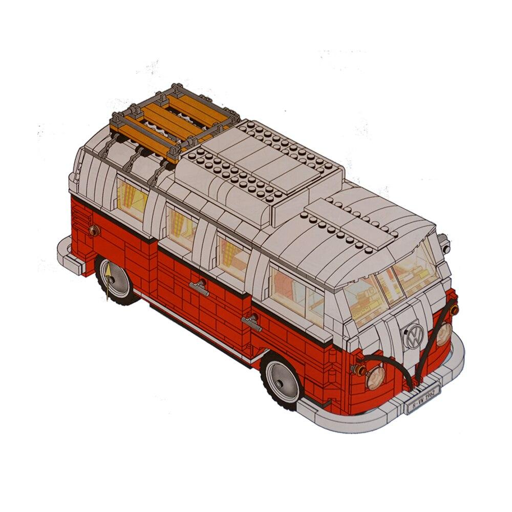1354 pcs série technique la Volkswagen T1 Camping-Car de voiture-styling Bâtiment Blocs jouets Compatible legoinglys 10220