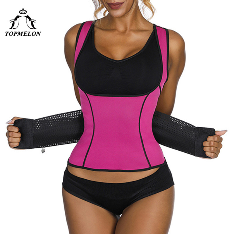 TOPMELON Sweat Waist Trainer Wome's Underbust Shaper Tops Slimming Corset Plus Size S-3XL Red Blue Purple Black Body Shapers