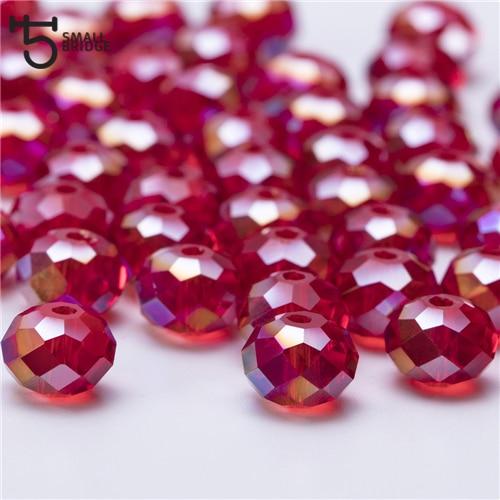 4, 6, 8 мм чешские хрустальные бусины для рукоделия своими руками, цветные граненые стеклянные бусины AB, Z179 - Цвет: Z317AB red