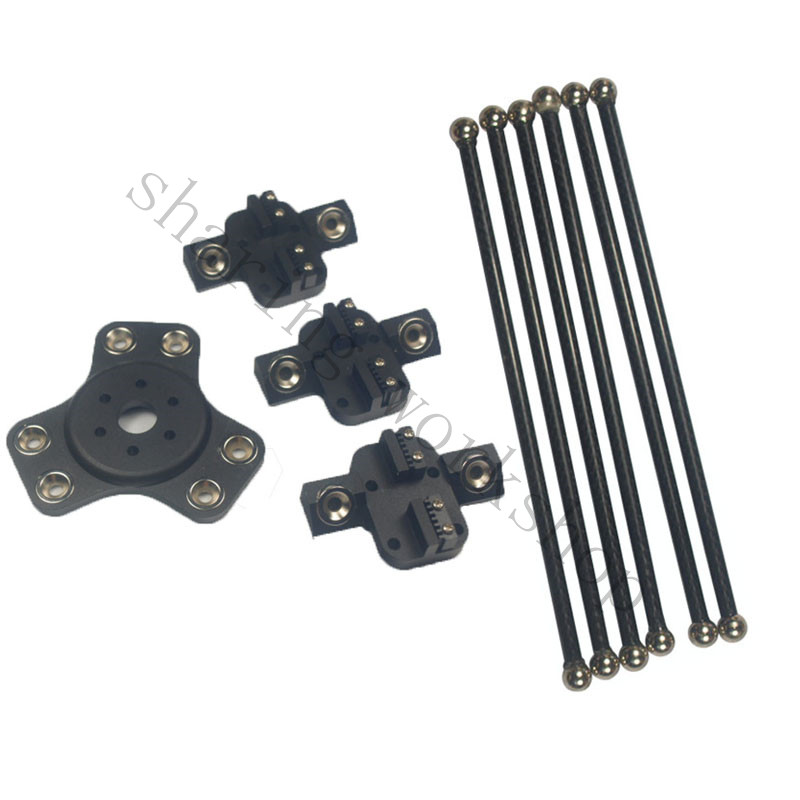 Kossel k800 black color magnetic 1pcs effector+3pcs carriage+6pcs 180mm carbon tube Diagonal push rods kit  for 3d printer