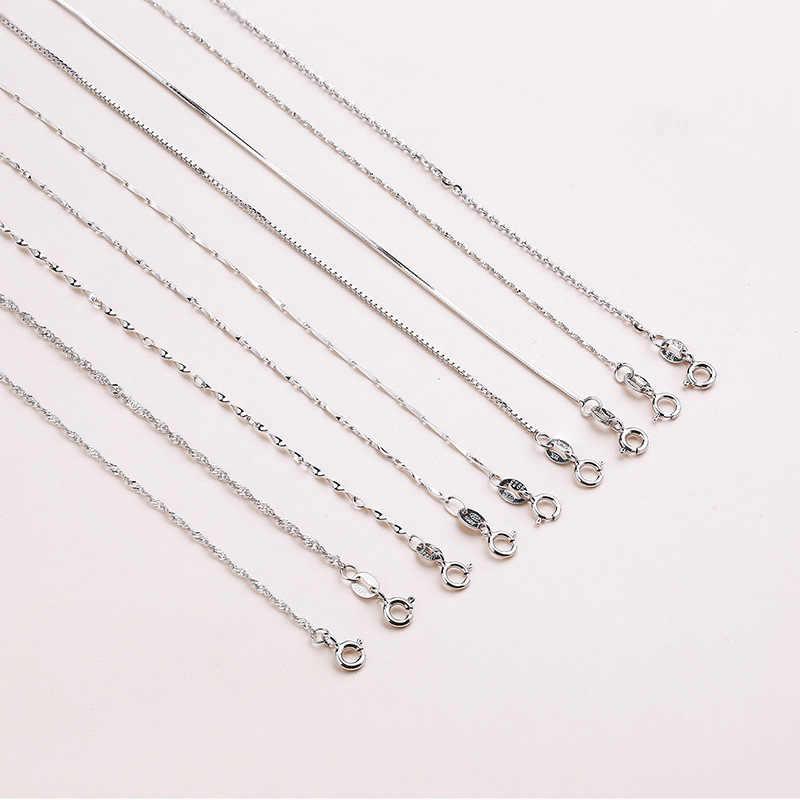 Martick Echtem 925 Sterling Silber Wasser-welle Kette Für Frau 40 cm/45 cm 0,7/0,8mm kette Halskette GSC1