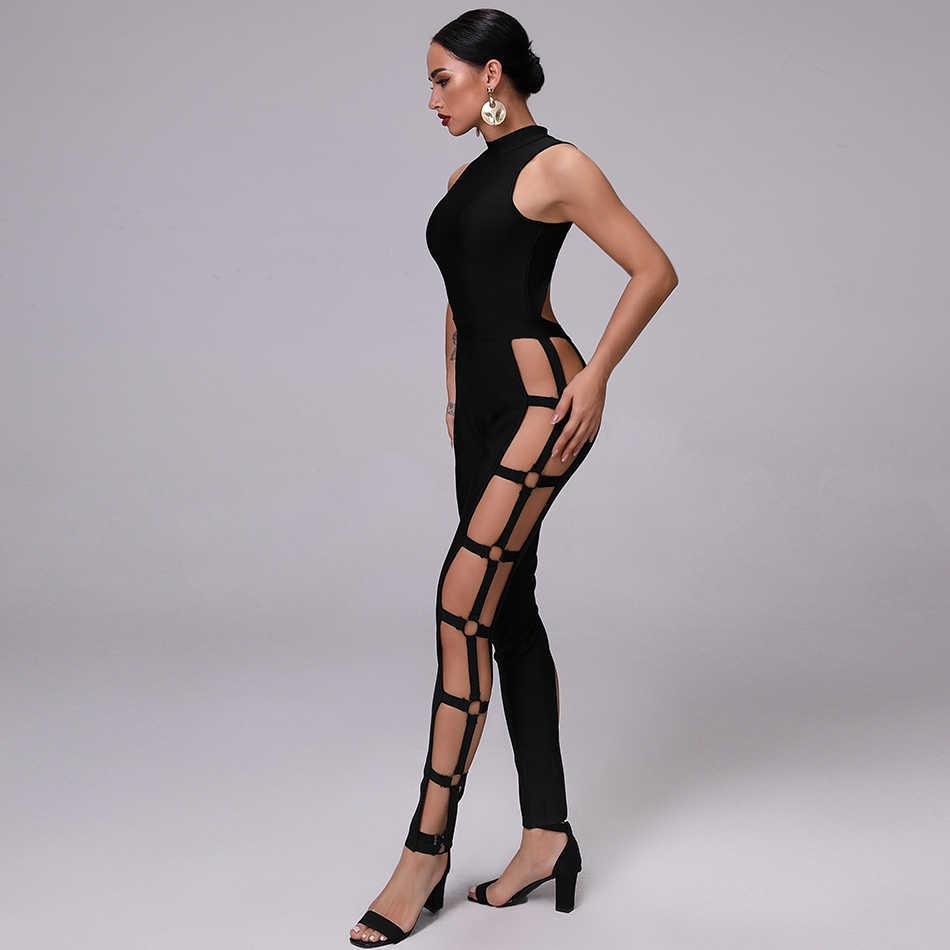 2019 новейший Летний комбинезон женский черный без рукавов высокий рукав металлический полый знаменитости вечерние Подиумные трико оптом