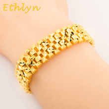 Ethlyn New Trendy  Wide chain 22cm*15mm Hiphop bracelet copper Gold Color d high quality Men jewelry  wholesale B009