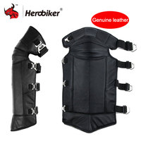 HEROBIKER Winter Windproof Genuine Leather Motorcycle Knee Pads Motorcycle Electrombile Windshield Protect Thick Warm Knee Pads