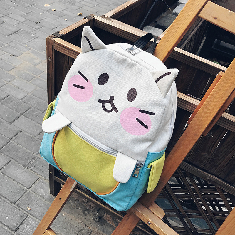 2017 Neko Atsume Kawaii Cat Canvas Backpack Cute Cat School Bags for Girls Mochila Feminina Women Cartoon Bags School Backpack kitty cat backyard neko atsume backpack comic periphery dual portable canvas shoulders bag cartoon accessory kids anime gift