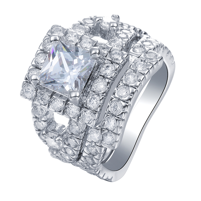 2pc Luxury Large Square While AAA CZ Wedding Rings Sets for Women