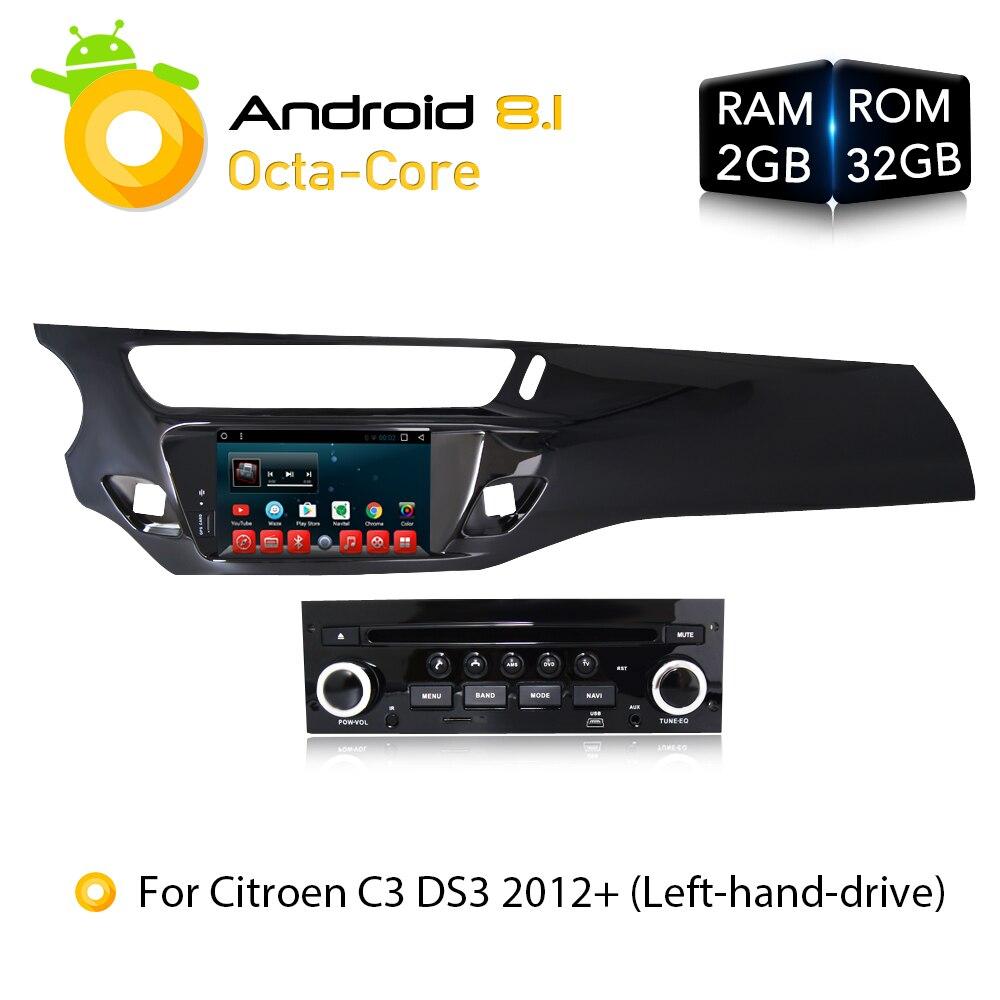 Android 7.1.1 8.1 RAM2G Voiture DVD Stéréo Lecteur GPS Glonass Navigation Multimédia pour Citroen C3 DS3 2010-2016 Automatique radio Audio