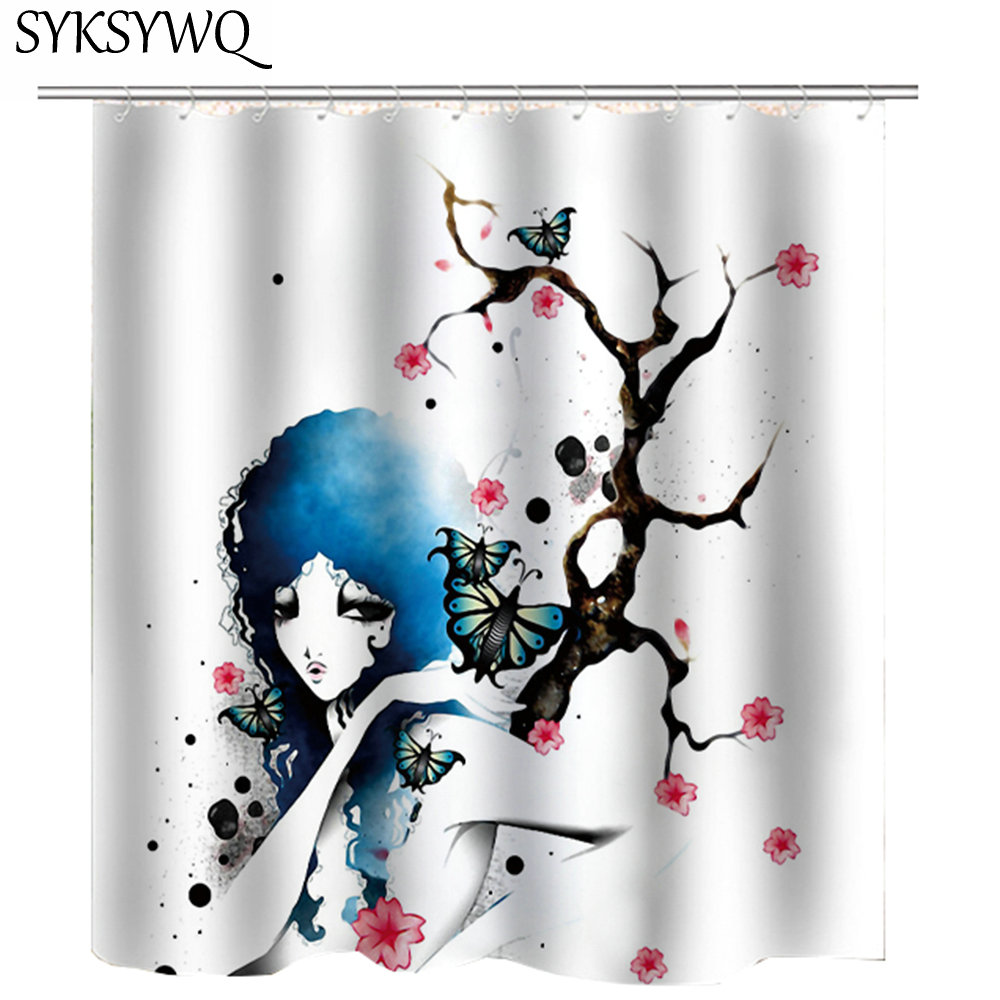 African American Shower Curtains African Woman Afro Hair