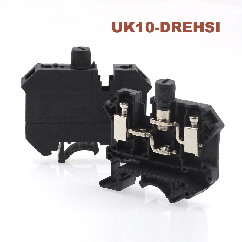 50pcs UK10-DREHSI Din rail screw Clamp fuse terminal blocks wire electrical cable connector Wiring terminals seat 6.3A 16mm250pcs UK10-DREHSI Din rail screw Clamp fuse terminal blocks wire electrical cable connector Wiring terminals seat 6.3A 16mm2