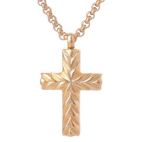 Classic 18K Gold Plated Stainless Steel Cross Pendants Necklaces Cremation Ash Urns Necklace Jewelry Keepsakes For