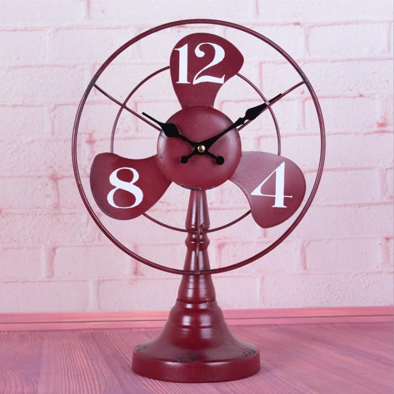 Fashion loft wrought iron desk clock vintage living room wine ...