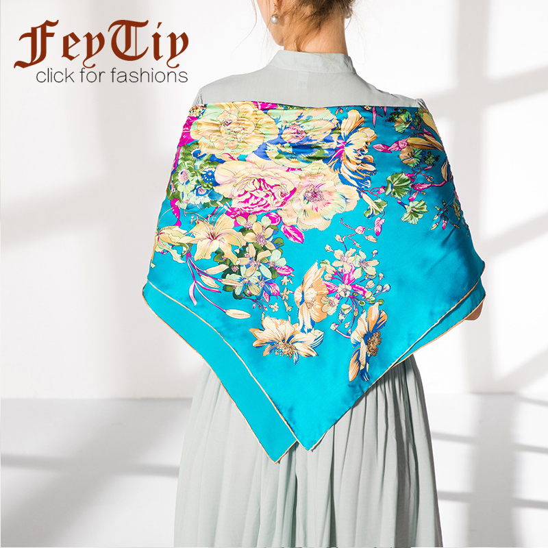 Blue Peacock Pure Silk Head Scarf Women Hijab Fashion Flower Printed Shawl&Wraps Foulard Square Hand Rolled Scarves 90x90cm NEW