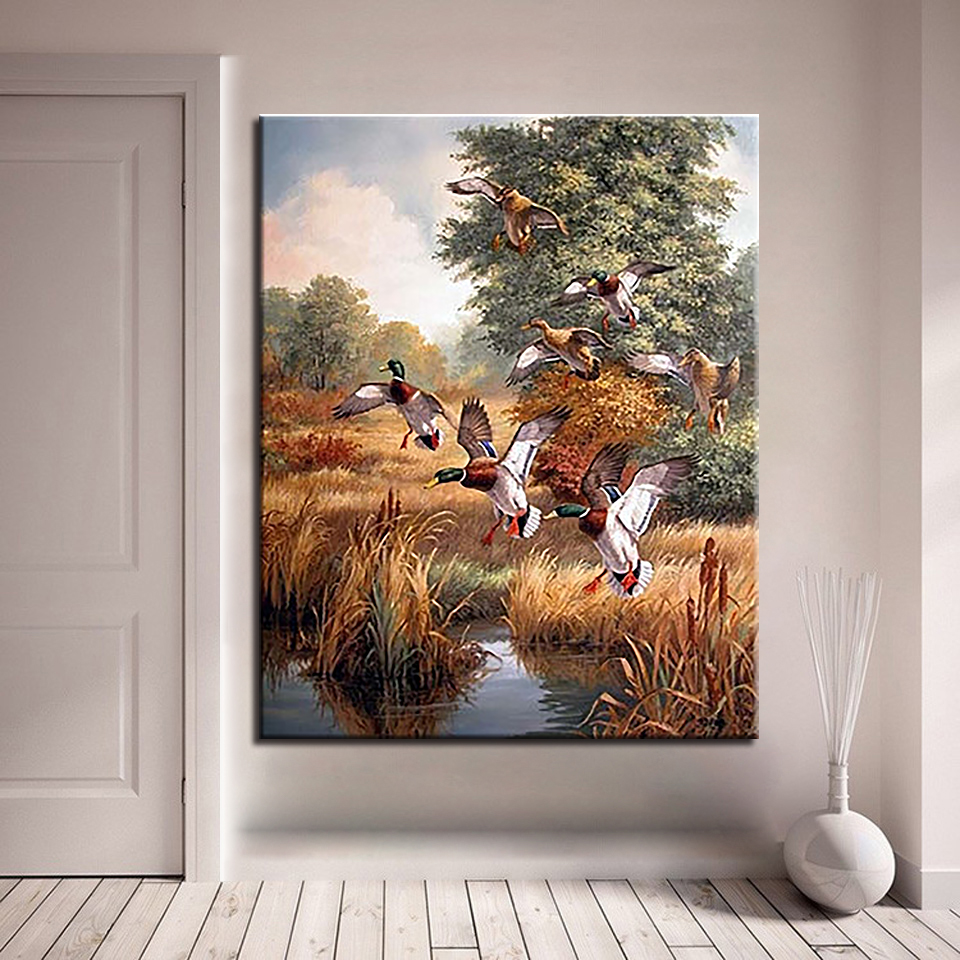 DIY Oil Painting By Numbers Handpainted Mallard Ducks Digital Pictures Wall Art Hunting Duck Scenery Coloring Living Room Decor