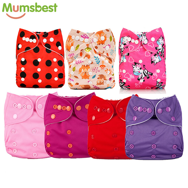 Mumsbest Baby Girl Pink Cloth Diaper 7pcs Lot Washable Reusable One Size Adjustable Washable Baby