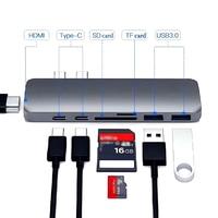 Thunderbolt 3 док-станция для 7in1 USB-C концентратор двойной Тип-C многопортовый кард-ридер USB3.1 Адаптер зарядного устройства с разрешением 4 K HDMI для ...