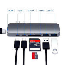 Thunderbolt 3 док 7in1 USB-C Hub двойной Тип-C многопортовый Card Reader USB3.1 зарядки адаптер 4 К HDMI для MacBook Pro