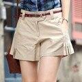 Pliegues De Algodón del verano femenino más tamaño Flojo Ocasional Pantalones Cortos mujeres de gran tamaño de primavera sólido 100% de algodón delgado pantalones cortos