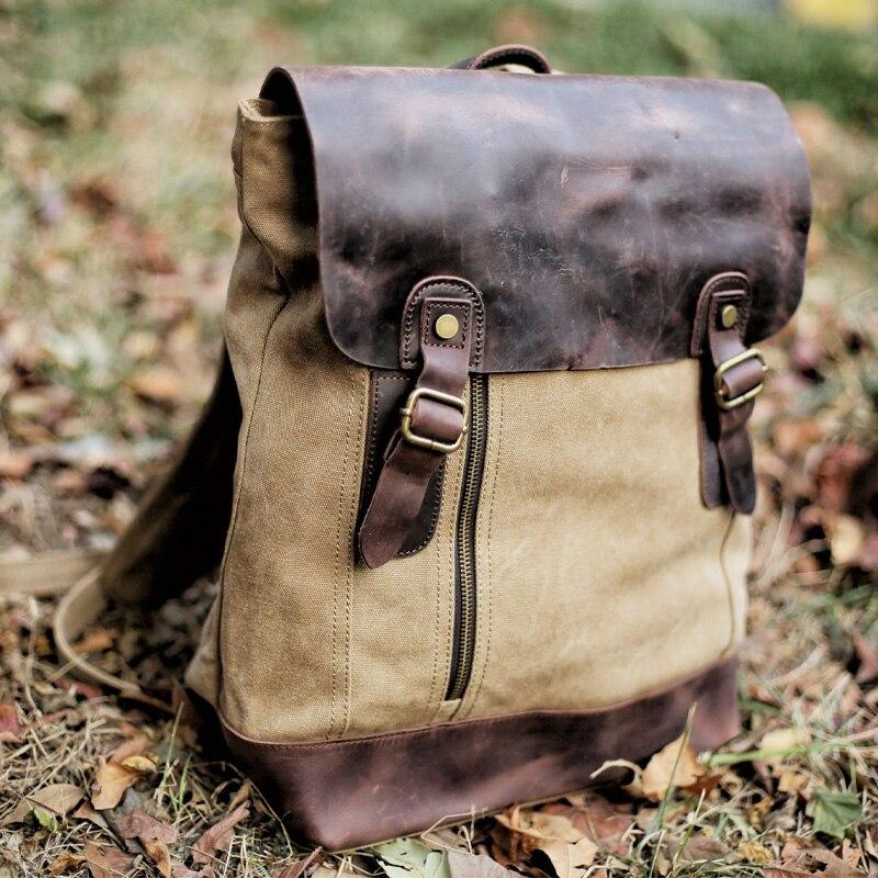 Vintage ardoisé Bagpack Militaire Noir À Toile vert Mochila Mâle Cuir En Cartable kaki Dos 2019 Sac Femmes Hommes Nouveau qaPEw