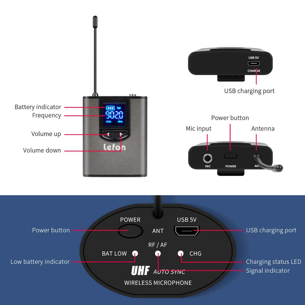"Image 3 - Lefon UHF Wireless Headset Microphone Lavalier Lapel Mic with Bodypack Transmitter and Mini Rechargeable Receiver 1/4"" Output-in Microphones from Consumer Electronics"