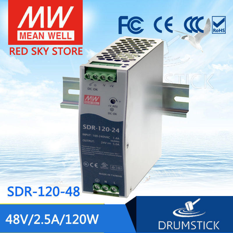 все цены на hot-selling MEAN WELL SDR-120-48 48V 2.5A meanwell SDR-120 48V 120W Single Output Industrial DIN RAIL with PFC Function онлайн