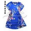 Павлин Голубое одеяние пижамы Китайских женщин Silk Район Одеяние Ванна Платье Один Размер Цветка Бесплатная Доставка