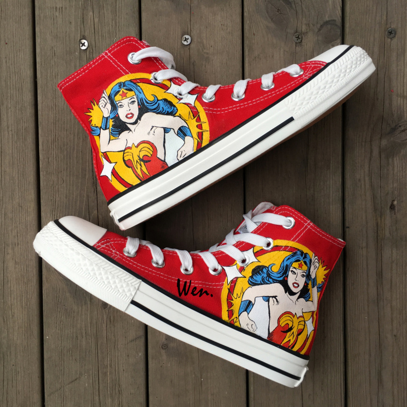 Wen Hot Sale Hand Painted Shoes Design Custom Wonder Woman Red High Top Women Mens Canvas Sneakers for Birthday PresentsWen Hot Sale Hand Painted Shoes Design Custom Wonder Woman Red High Top Women Mens Canvas Sneakers for Birthday Presents