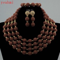 2017 MOON GIRL NEW acrylic beads making choker african Nigeria Wedding beads jewelry set statement necklace sets for women GB401