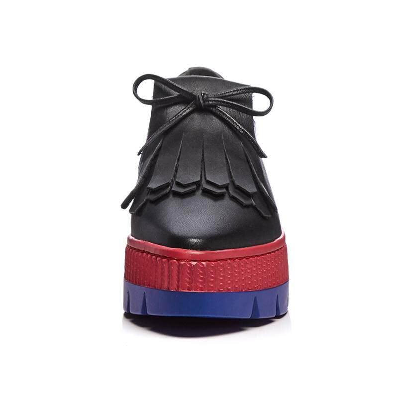 Smirnova Cuero Beige Zapatos Plataforma Primavera Borla negro Otoño Plana Genuino Nuevo 2018 Mujeres Moda Casual Slip Pointed On Toe Hq1Hrt