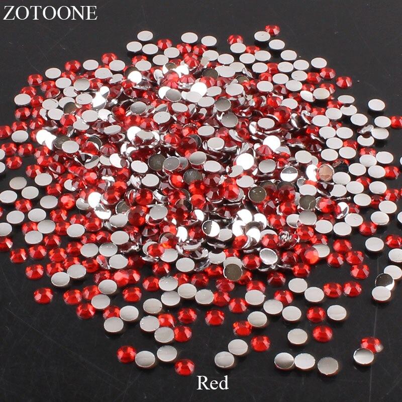 ZOTOONE 2-6 мм 1000 шт прозрачные Стразы AB без горячей фиксации плоские с оборота Стразы для ногтей для одежды ногти 3D дизайн ногтей украшения - Цвет: Red