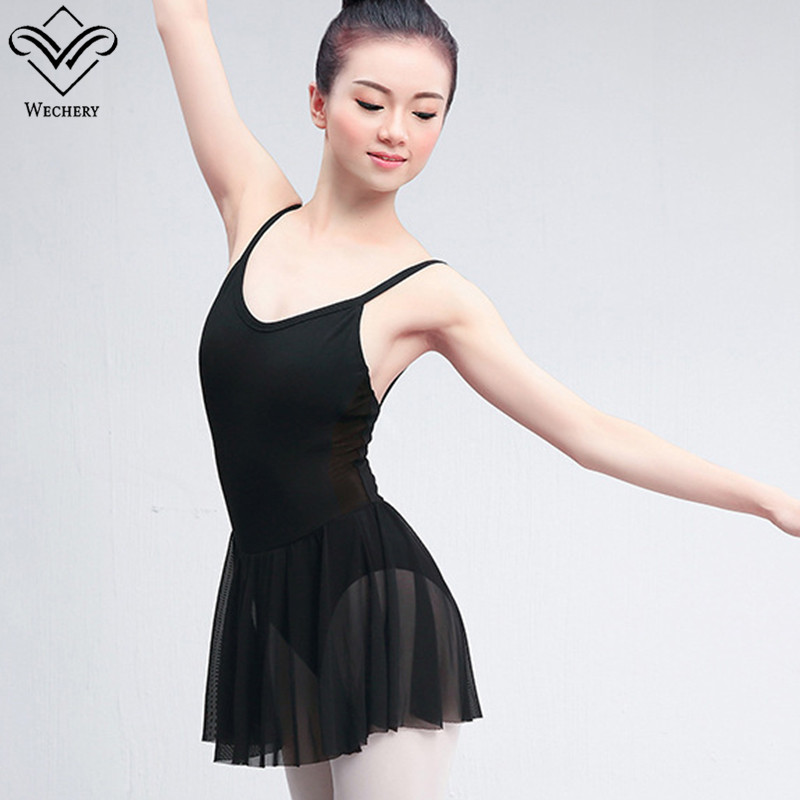 Wechery Tutu Ballet Women's Leotard Backless Spaghetti Strap Dance Wear Training Practice Performance Costume Black Clothes