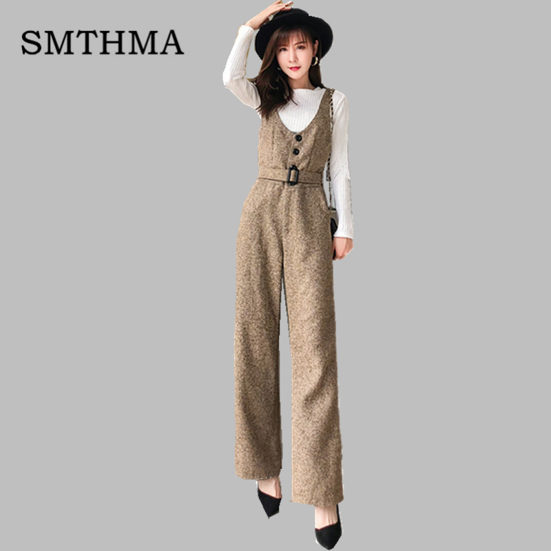 SMTHMA 2019 New arrival Autumn and winter woolen rompers womens jumpsuit+Cotton knit t-shirt women two piece outfits 1