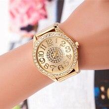 Montres Femmes высокого качества бренд золото кристалл Повседневное кварцевые часы Для женщин со стразами Нержавеющаясталь платье Часы дамы часы