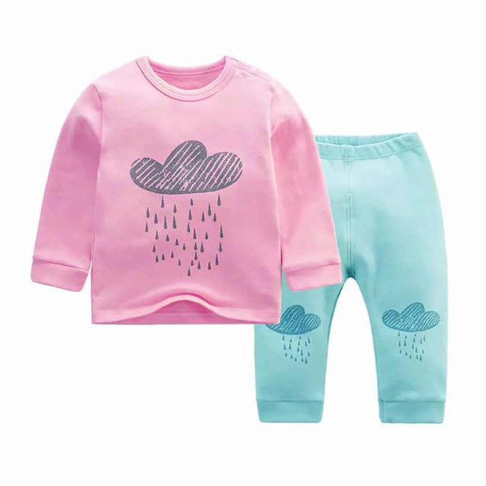 2017 New Cloud Print baby girl clothes Infant Toddlers Long Sleeve T-shirt Hoodies +Pants Clothes Outfit Set For 0-24M