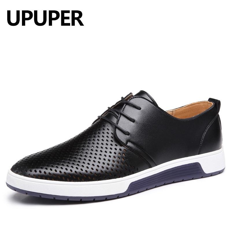 Gran tamaño: 37-48 2018 nuevos hombres del verano ocasional Zapatos hueco agujeros respirables de cuero marca de lujo plana Zapatos para hombres gota libre