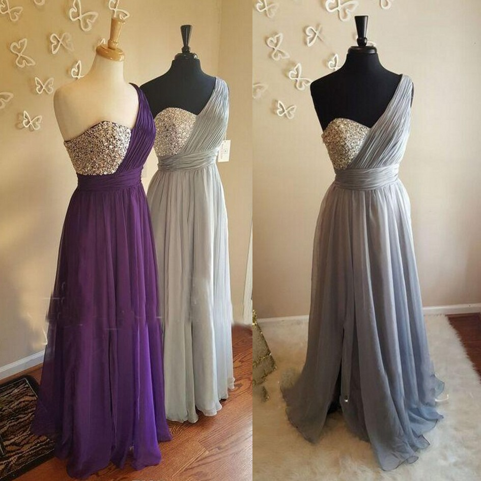 Vestido De Festa Longo Bridesmaid Dresses Crystal Beaded Pleat Chiffon Purple Wedding Guest Dress Maid Of Honor Bridesmaid Gowns