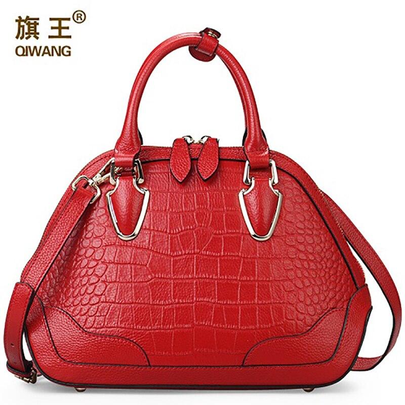 Qiwang Rouge Supérieure Qualité Solide Sac À Main Femmes Crocodile Sac À Main En Cuir Véritable Marque Designer Classique sac de coquille pour Femme
