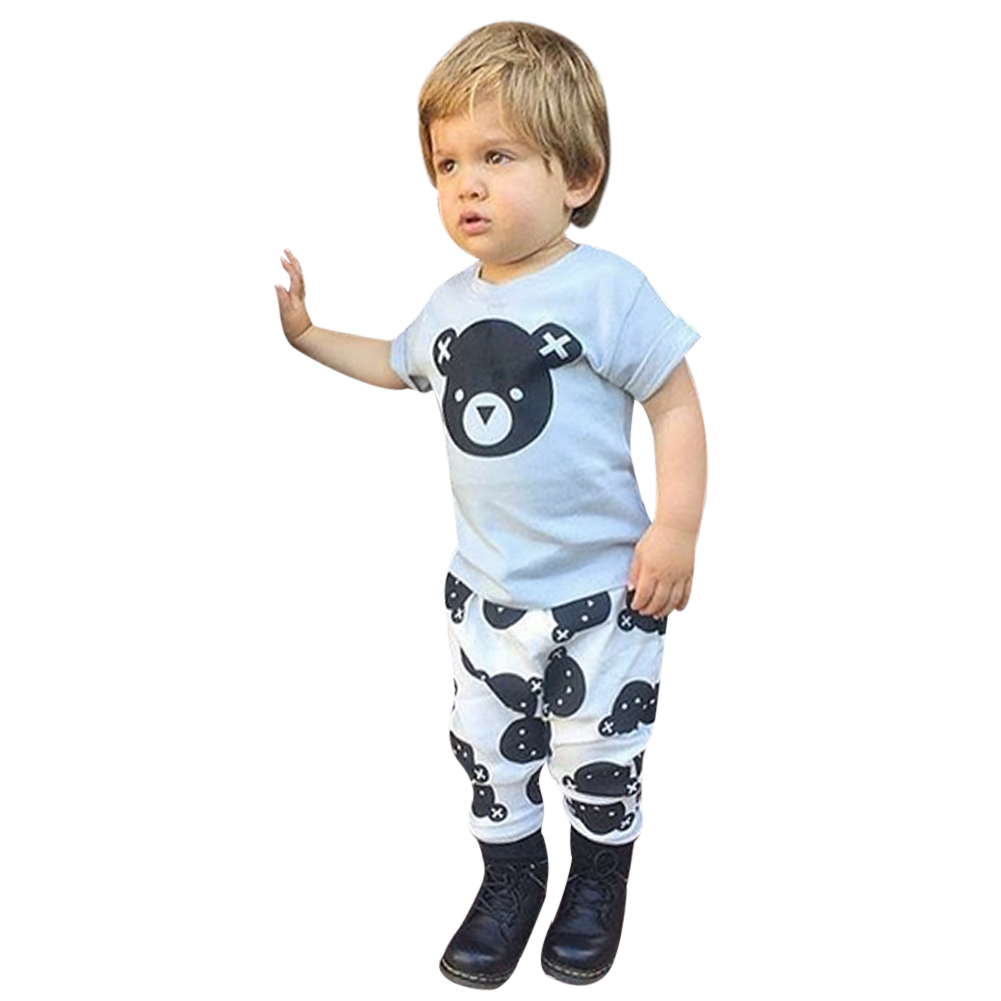 2017 New Summer Baby Boy Clothing Sets Baby Boy Clothes Cotton Cute Bear Short Sleeve T-shirt+Pants Infant Clothes 2PCS Suit