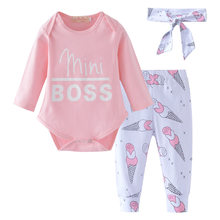 3PCS baby suit girls suit: 2019 baby jumpsuit pink top + ice cream trousers + bow baby headband girls cotton clothes(China)