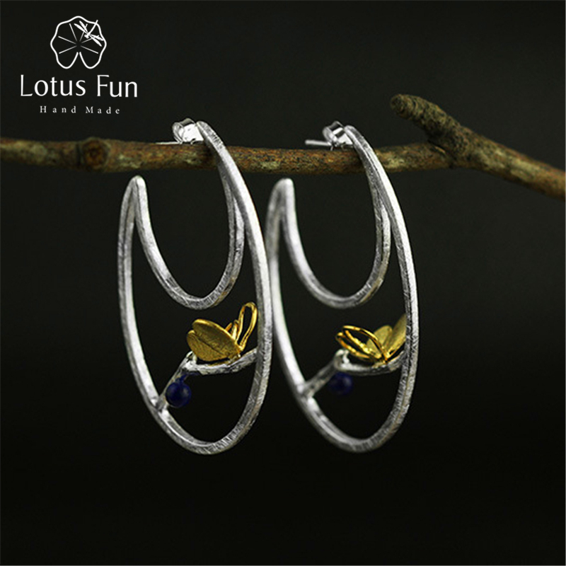 Lotus Fun Real 925 Sterling Silver Natural Creative Handmade Fine Jewelry Butterfly Fashion Hoop Earrings for Women BrincosLotus Fun Real 925 Sterling Silver Natural Creative Handmade Fine Jewelry Butterfly Fashion Hoop Earrings for Women Brincos