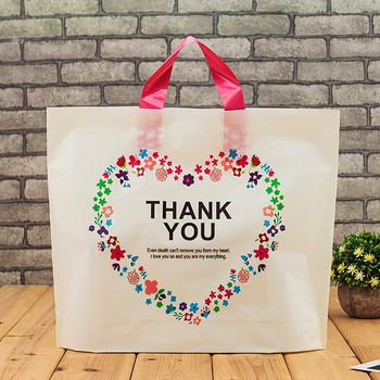 200pcs/lot 4 Size White Plastic Shopping Bag with Handle Carrier THANK YOU Heart Flowe Print Boutique Packaging Wholesale
