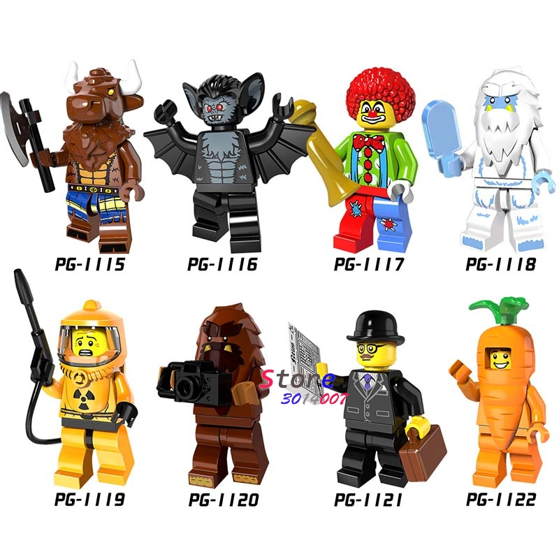 8pcs super hero Collection Series Business Carrot man Vampire Bat Joker Yeti Minotaur Bigfoot building blocks toys for children